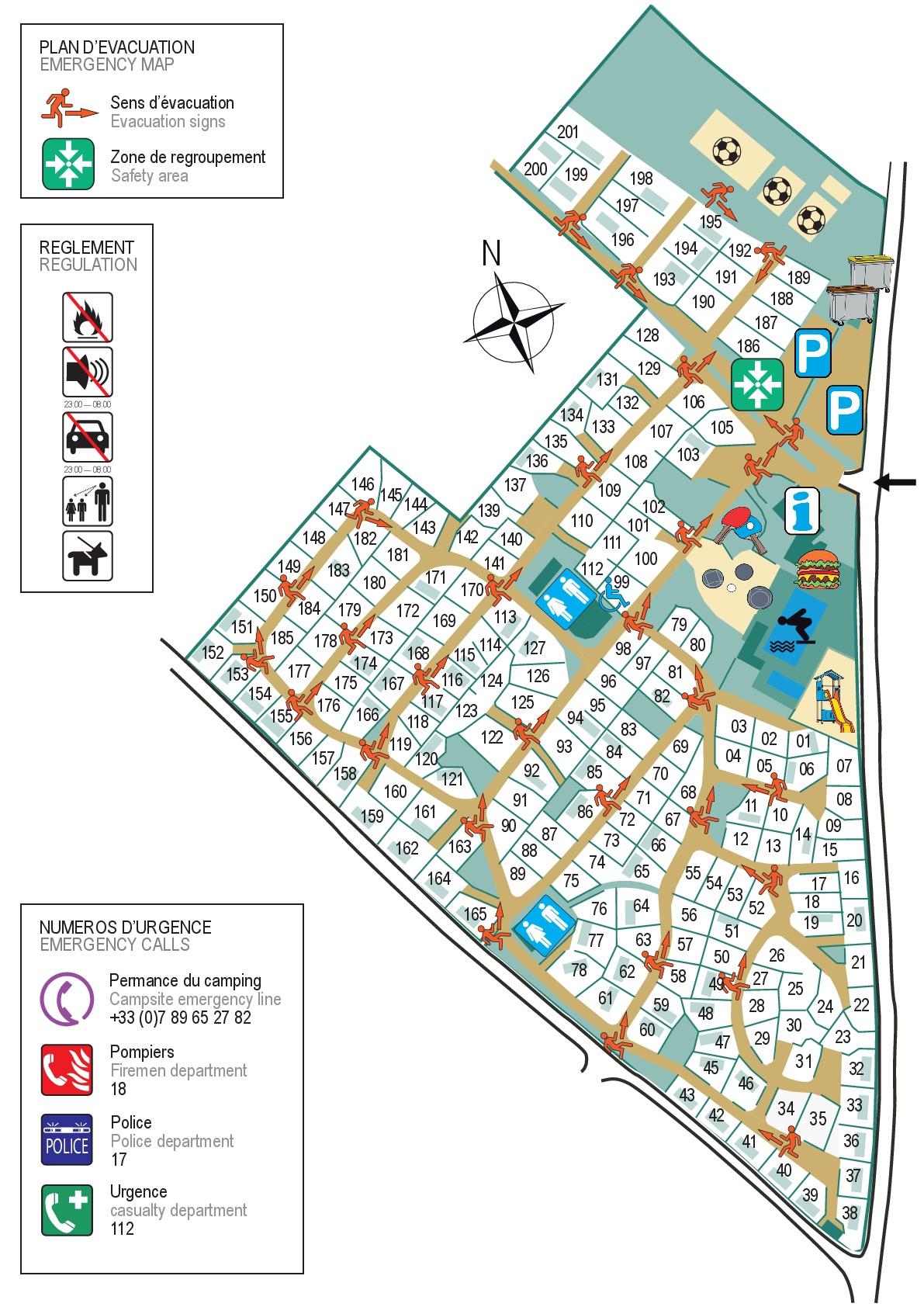 Plan du camping des Chênes Blancs
